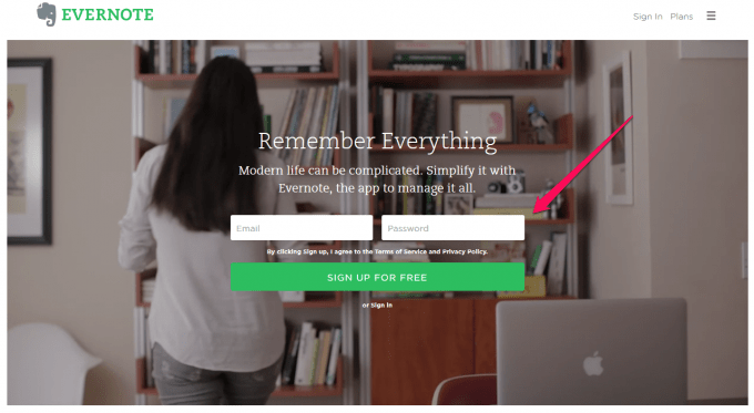 Register for a free Evernote account