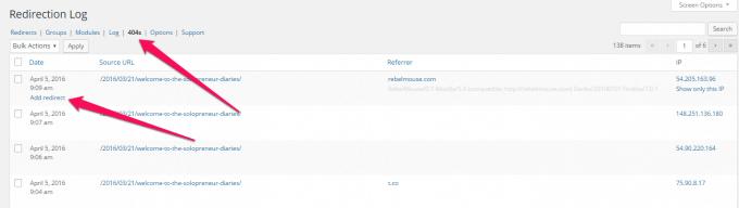 Redirection plug-in 404 errors