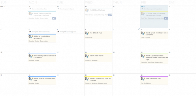 Coschedule Calendar screenshot