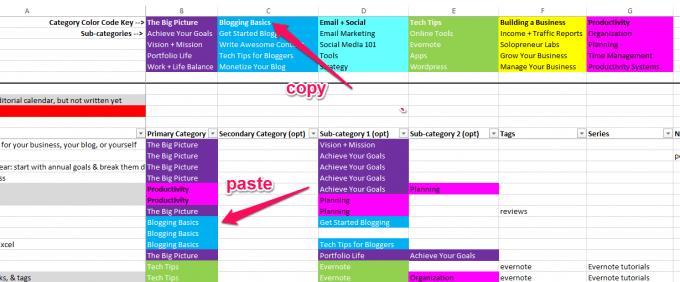 Content Idea Spreadsheet Header