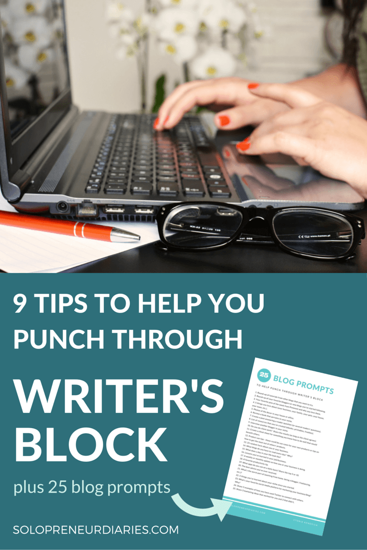 If you are a writer, you will have writer's block at some point. Click through for nine tips to help you punch through that wall and overcome writer's block. Plus a list of 30 blog prompts that you can download for free.