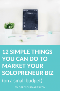 Whether your business is online or offline, this post will show you 12 simple things you can do to market your solopreneur business (on a small or non-existent budget). Click through to see all 12.