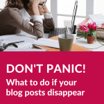 It was a scary morning here at Solopreneur Diaries HQ. All my blog posts disappeared! Here's what to do if it happens to you.