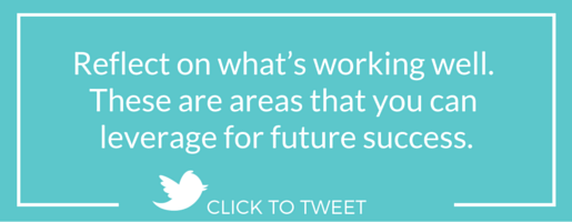 Reflect on what's working well. These are areas that you can leverage for future success.
