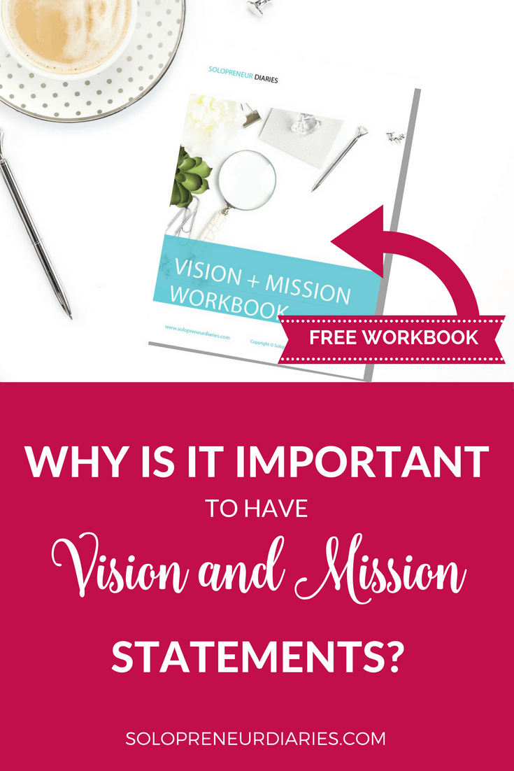 Your vision and mission are the foundation on which your business is built. Vision and mission statements can be a fantastic tool for solopreneurs. Click through to learn more and download your free Vision + Mission workbook!