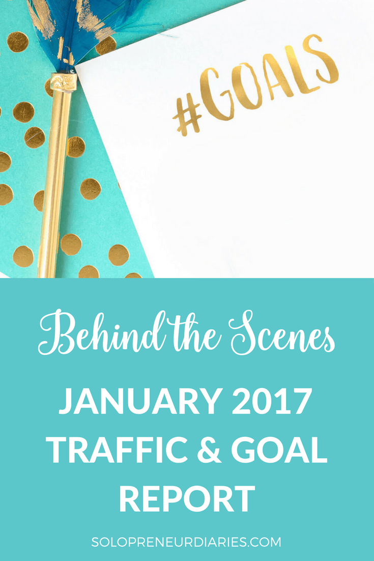 Go behind the scenes at Solopreneur Diaries with the January 2017 traffic & goal report. Click through for goals, marketing strategies, and lessons learned.