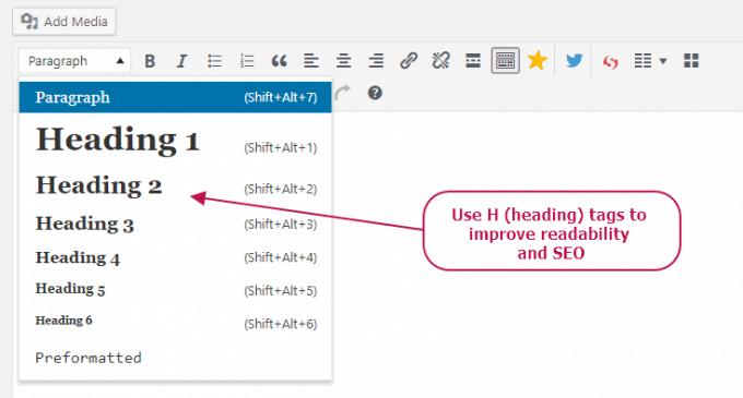 Use H (heading) tags to improve readability and SEO