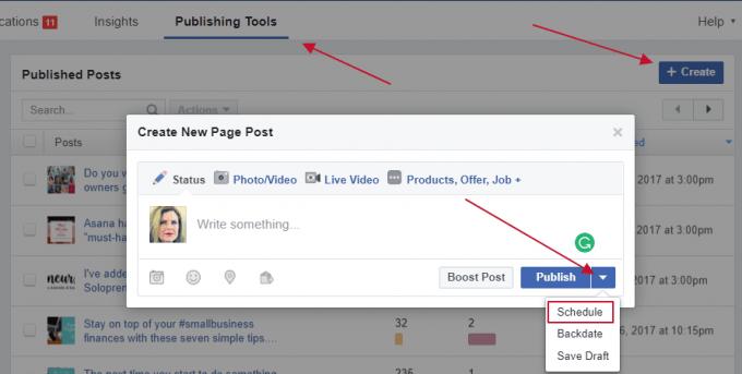 Facebook publisher screenshot