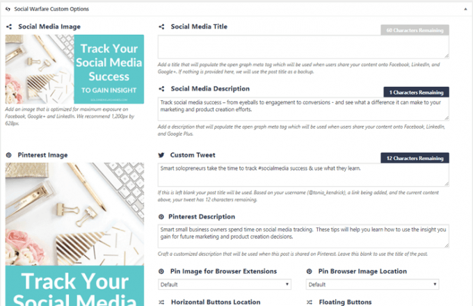 Social Warfare screenshot - an example of one of the 15 best social media management software programs.