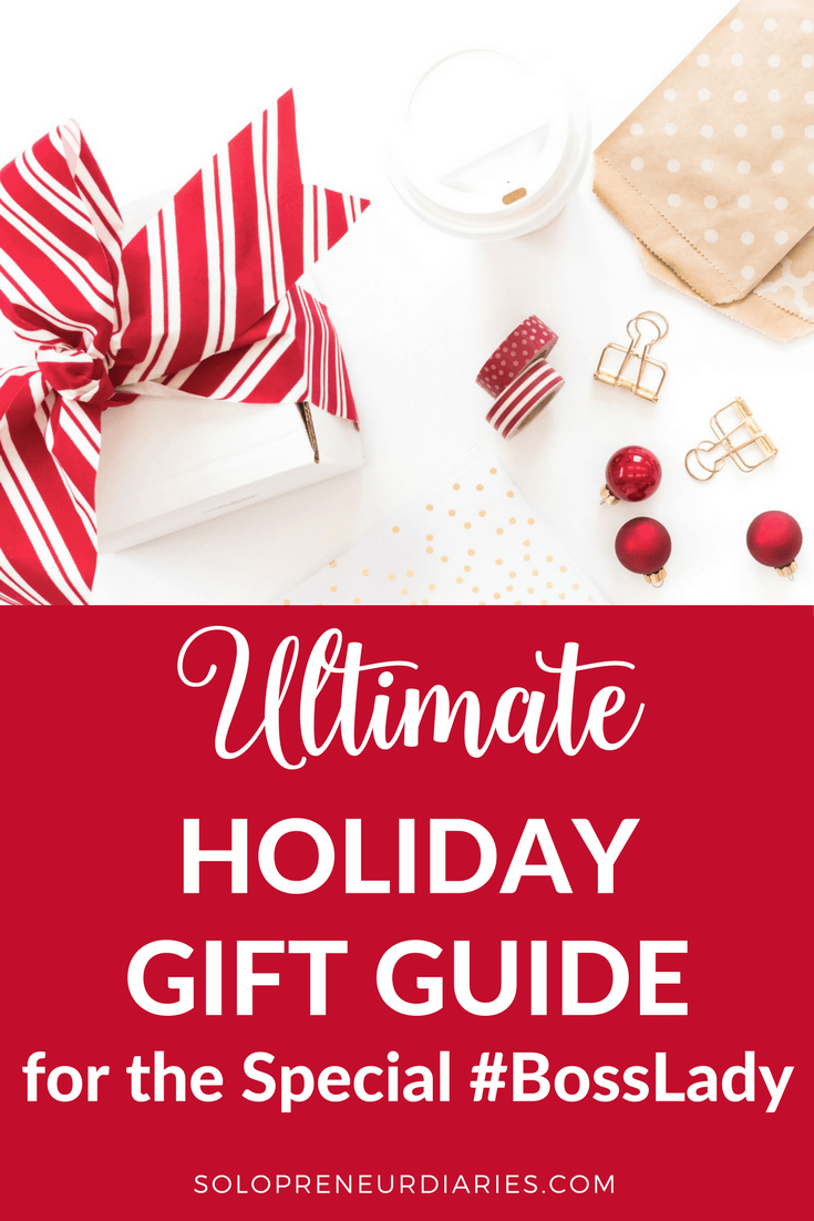 Looking for #Christmas gift ideas for the special boss lady in your life? In this 2017 gift guide, I share 50+ #holiday gift ideas that would be perfect for her, whether she's an online entrepreneur, work-at-home mom, or corporate biz babe.