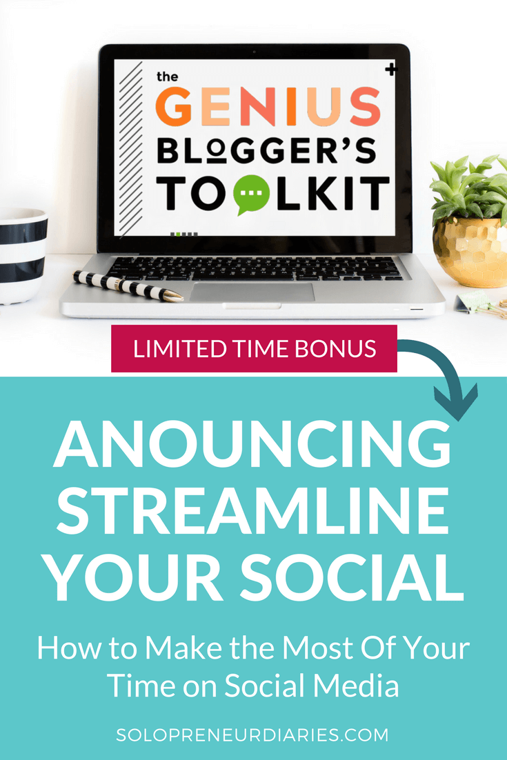 I'm so excited to announce that I'm opening up Streamline Your Social beta enrollment as part of the Genius Blogger's Toolkit! In this course, you'll learn how to make the most of your time on social media so that you can focus more on growing your small business. Click through to learn more.