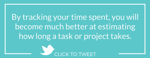 By tracking your time spent, you will become much better at estimating how long a task or project takes.