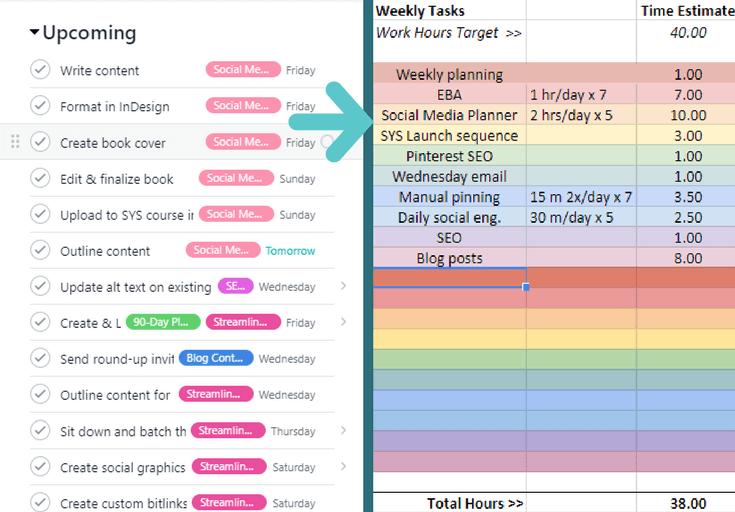 Time Blocking Task List