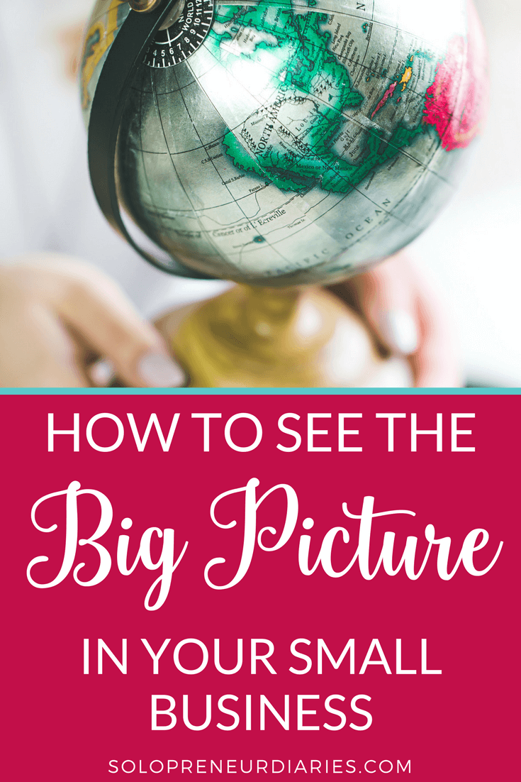 "Seeing the big picture is an important skill which can lead to success. The big picture is the foundation of your business and it's all about perspective. If you find yourself getting caught up in all the things you ""have to do"" each day, then click through for how to see the big picture in your small business."