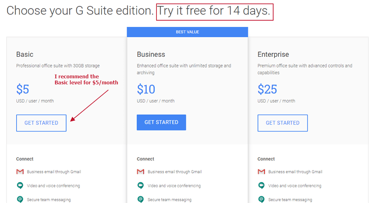 G Suite pricing grid screenshot