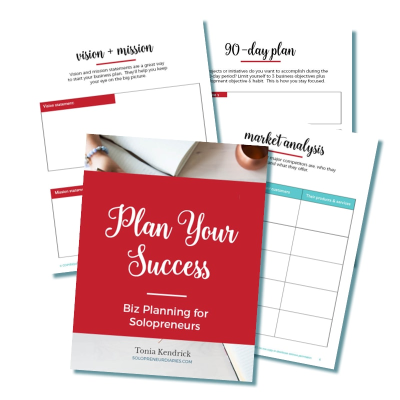 Download your FREE printable goal planning and business planning workbook for solopreneurs. Set your goals, make your plans, and stay focused!
