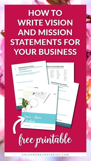 Which comes first, vision or mission? You need both in your small business! Click through to download your free printable workbook. In it you'll find a creating a vision statement exercise and worksheets to create your mission statement, too!