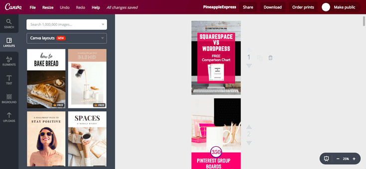 Canva pin screenshot