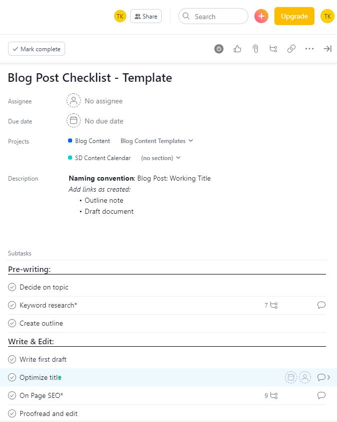 blog post workflow - example